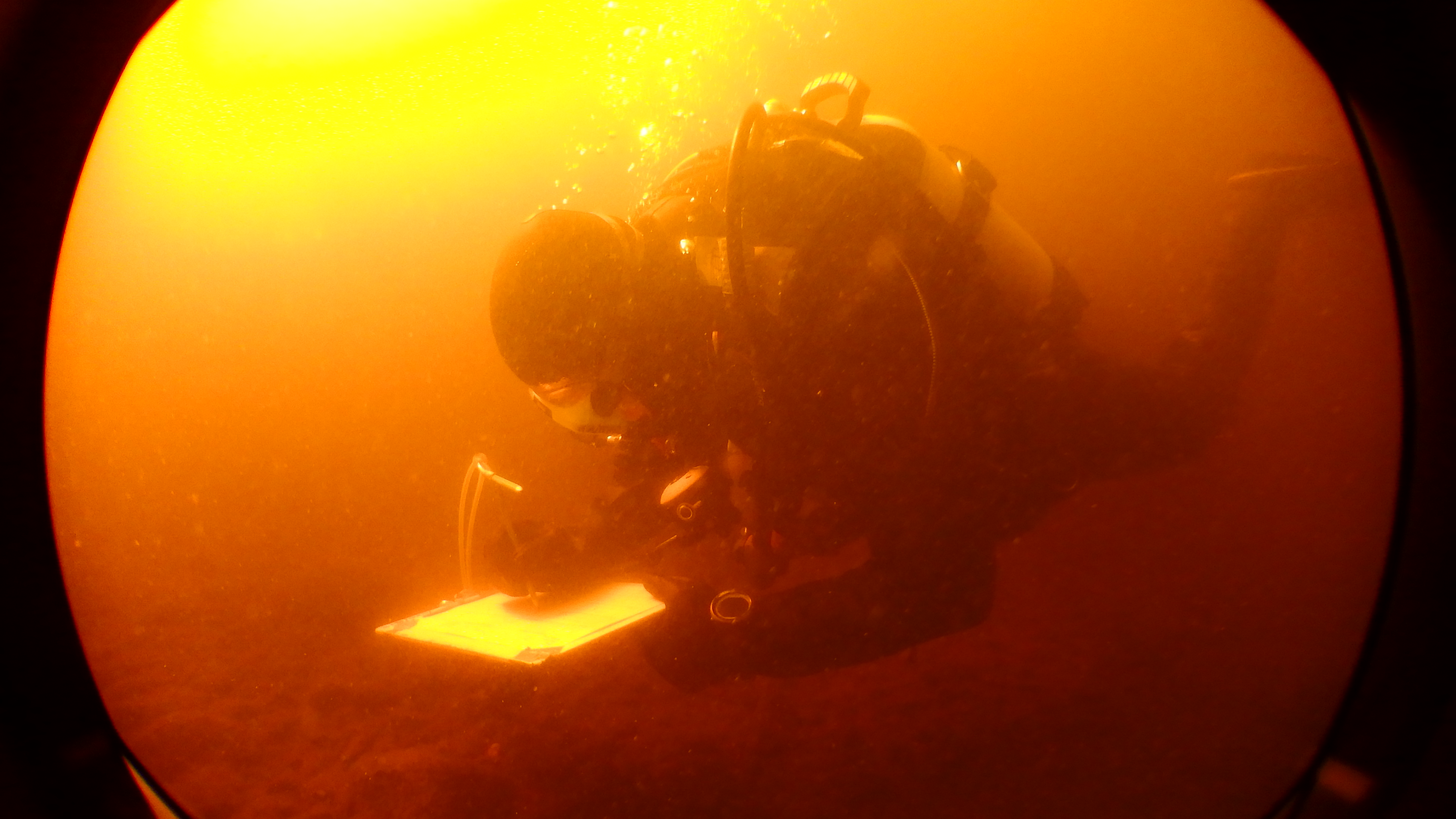 Essi Keskinen diving and taking notes.