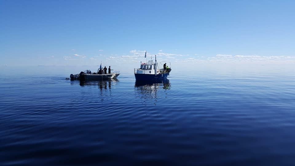 2 boats in calm blue sea.