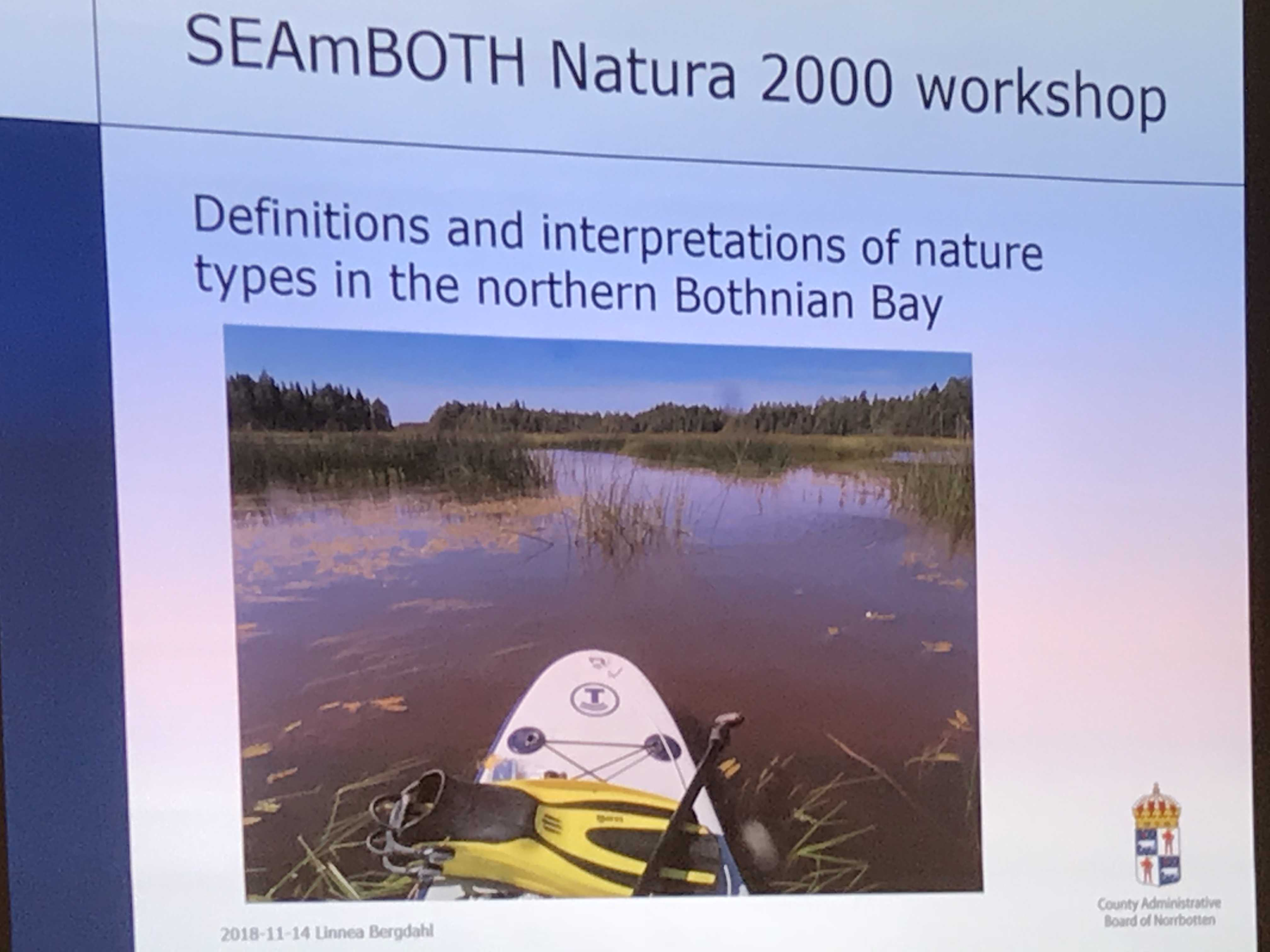 SEAmBOTH Natura 2000 workshop. Definitions and interpretations of nature types in the northern Bothnian Bay. A presentation slide.