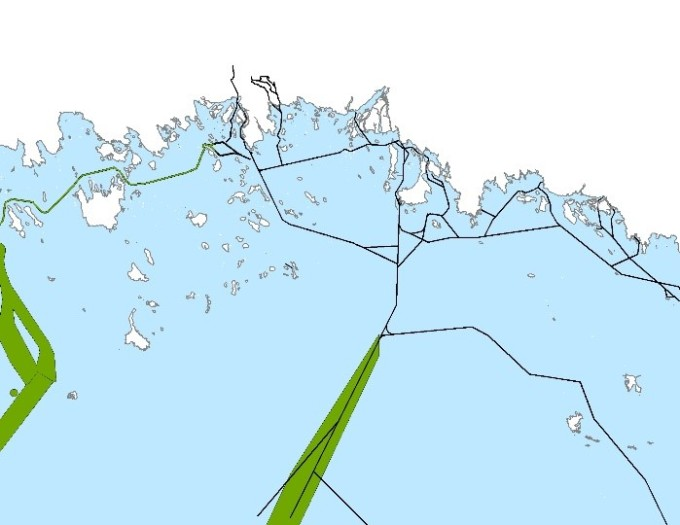 A map of northern Bothnian Bay, showing sea lanes.