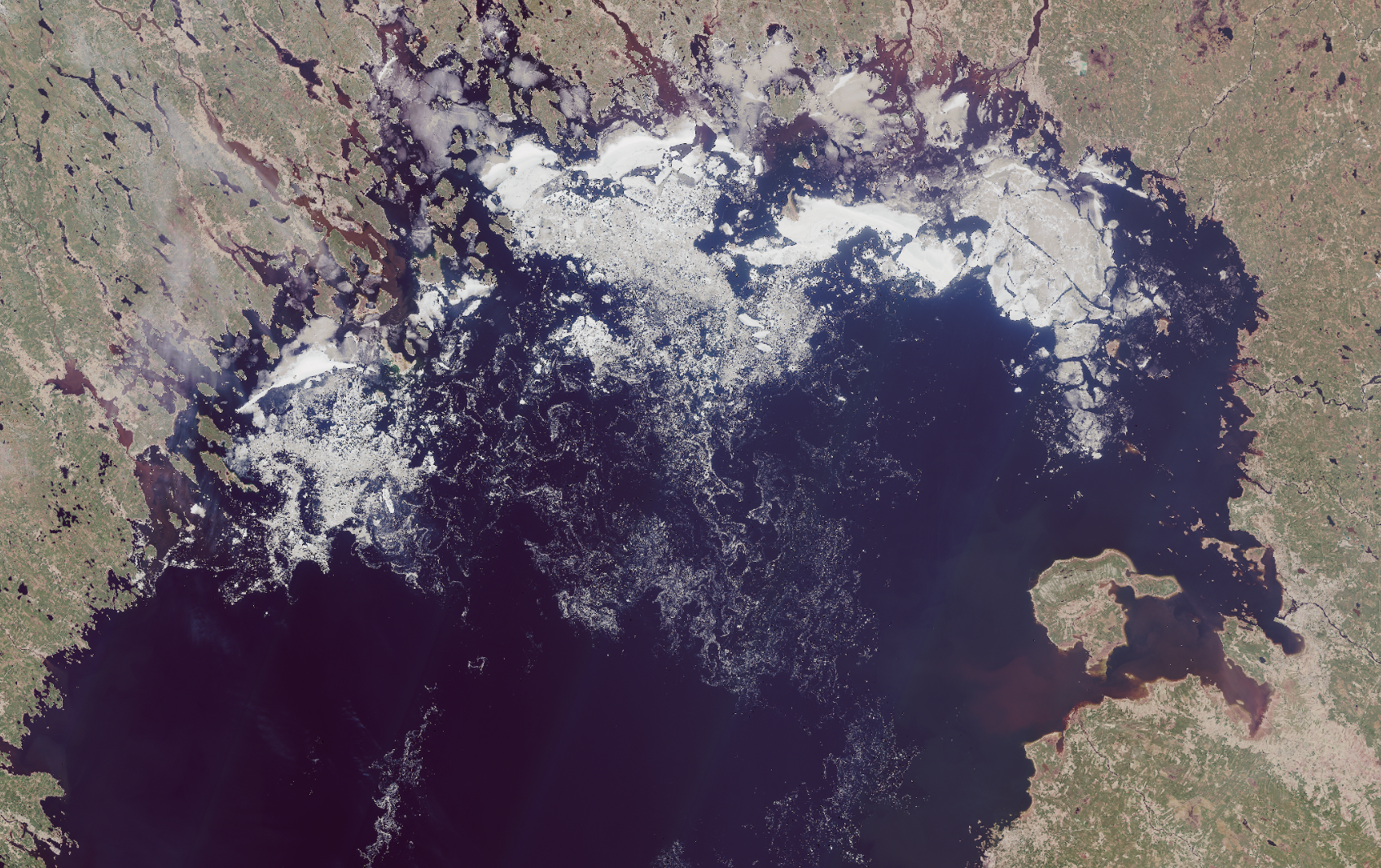 Satellite picture of Bothnian Bay.