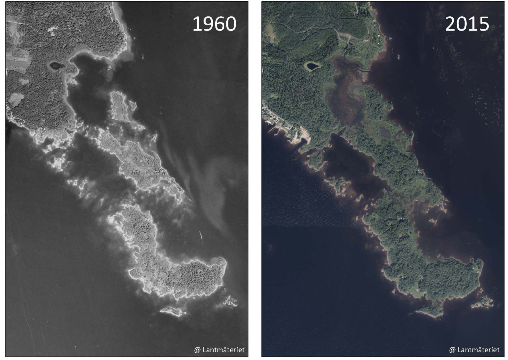 Aerial photo from 1960 and 2015. There is much more land on the picture of 2015.