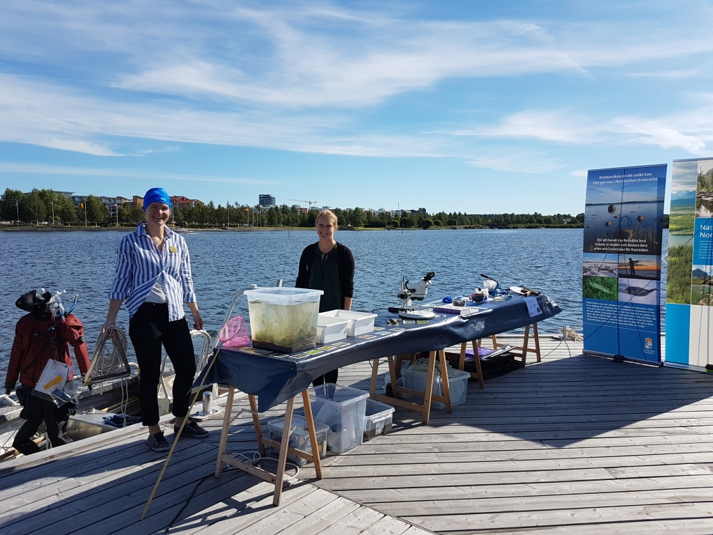 Petra and Kajsa standing behind a table filled with samples for public on a jetty.