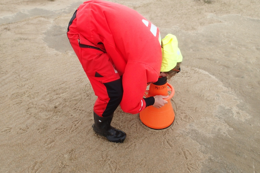 A person doing a wading point on dry sand, using water binoculars.
