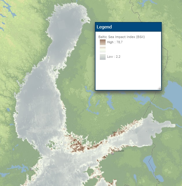 A map of Baltic Sea Impact Index. Shows highly impacted areas, mostly in the south.