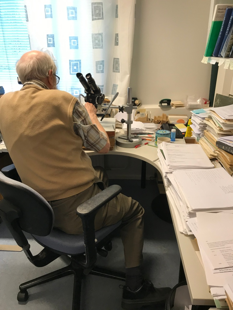 Tauno Ulvinen from behind. His desk is filled with well organized papers.