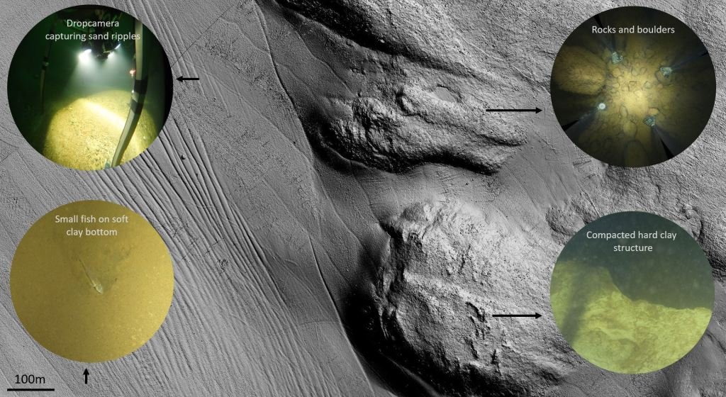 Background is high resolution model from sea bottom, showing bottom shape. On top are 4 small photographs of different bottom substrates: sand ripples, rocks and boulders, soft clay bottom and compacted hard clay structure.