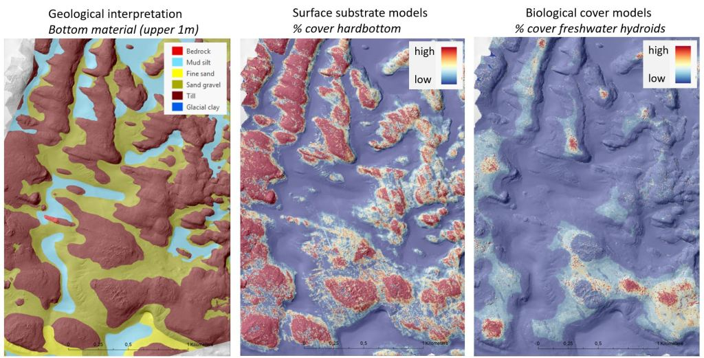 3 maps. Geological interpretation shows bottom material. Surface substrate models show hard bottom coverage. Biological cover models show freshwater hydroids coverage.
