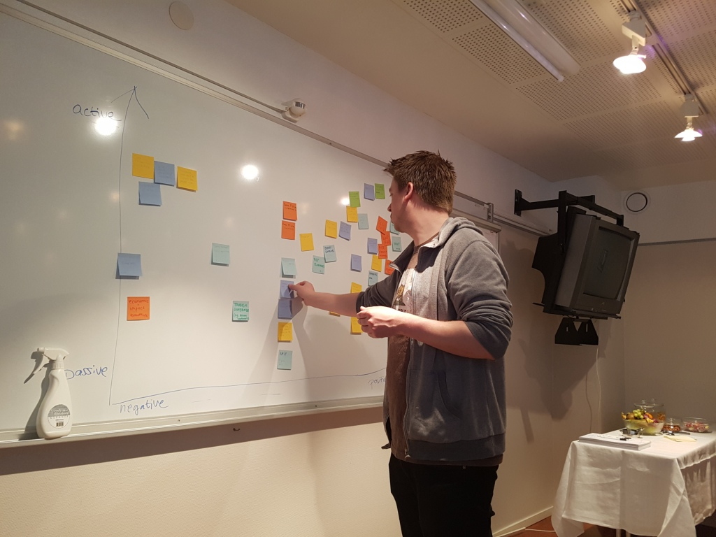 White board filled with different colored post-it-notes. Jaakko Haapamäki adding one.