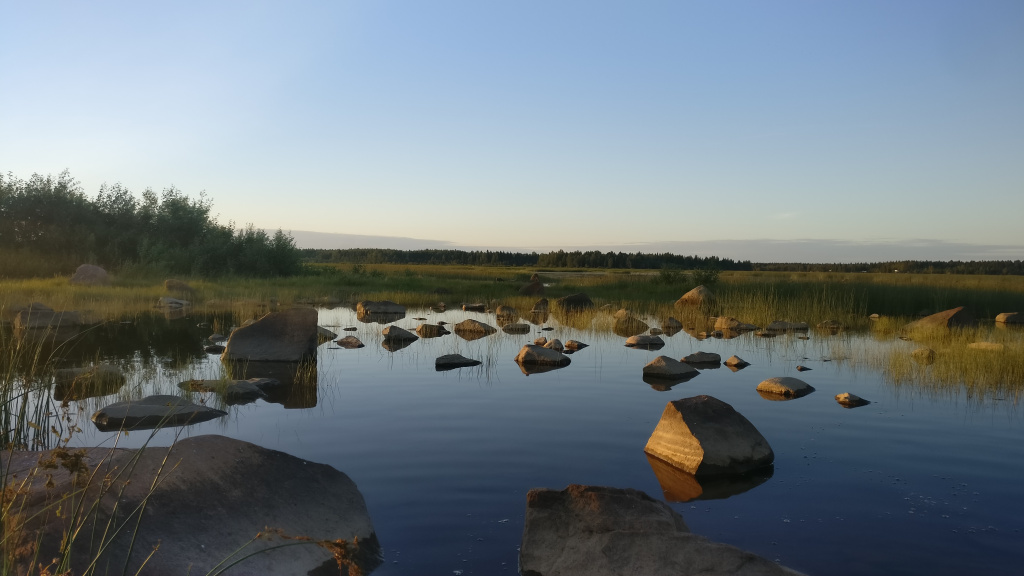 Shallow shore in quiet summer evening.