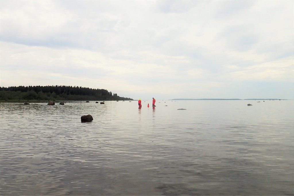 Two mappers working in shallow water.
