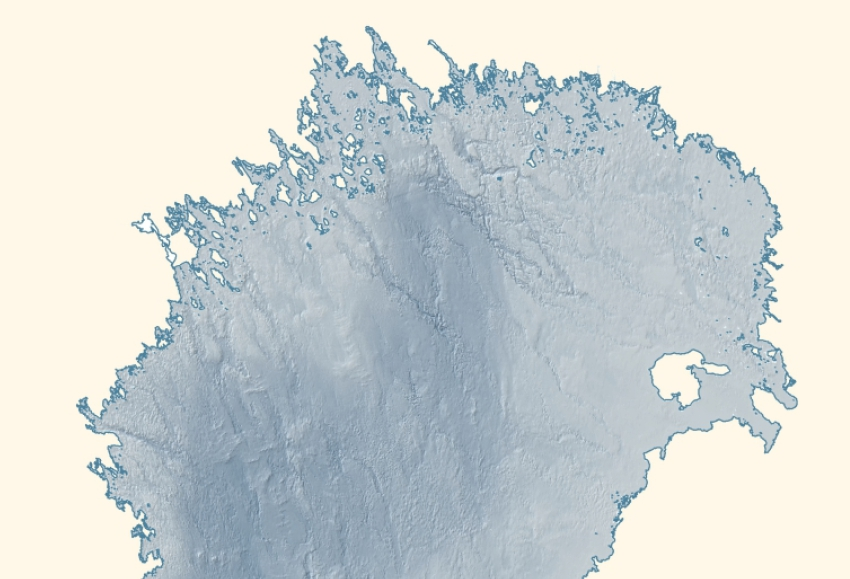A bathymetric (depth) map of northern Bothnian Bay showing some deep canyons running NW - SE
